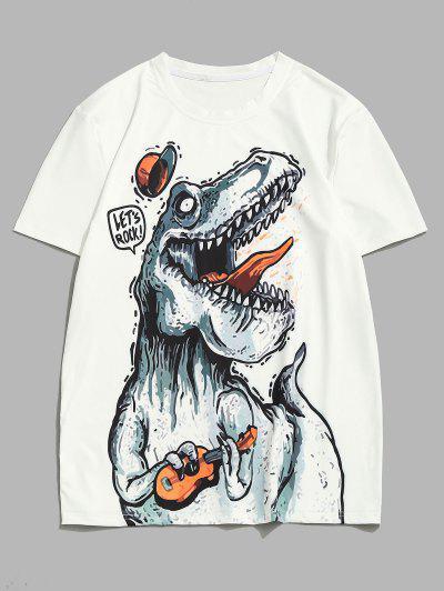 Playing Music Dinosaur Short Sleeve T-shirt - White L