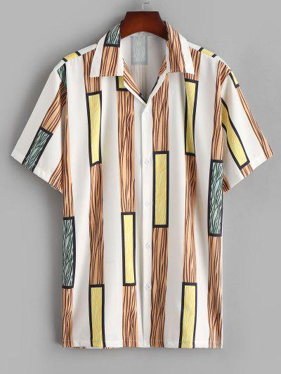 Wide Stripe Silky Short Sleeve Shirt - Camel Brown Xl