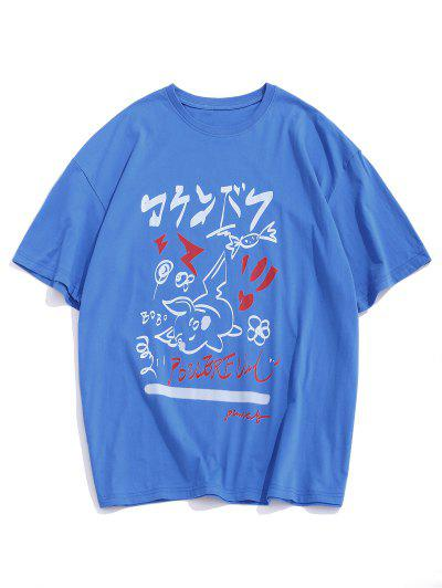T-shirt Lâche Lettre Graffitis à Goutte Epaule - Bleu S