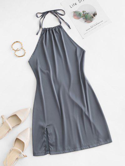 Vestido De Cóctel De Halter Con Abertura Sin Espalda - Gris Oscuro S