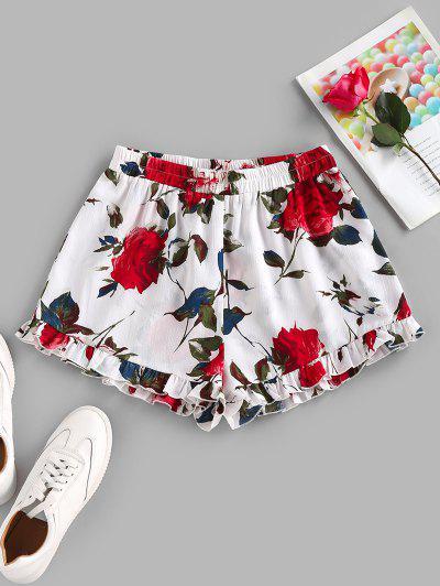 ZAFUL Rüschensaum Blumen Elastische Taille Shorts - Weiß S