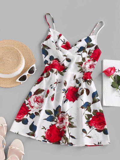ZAFUL Bowknot Flower Print Cami Sundress - White L