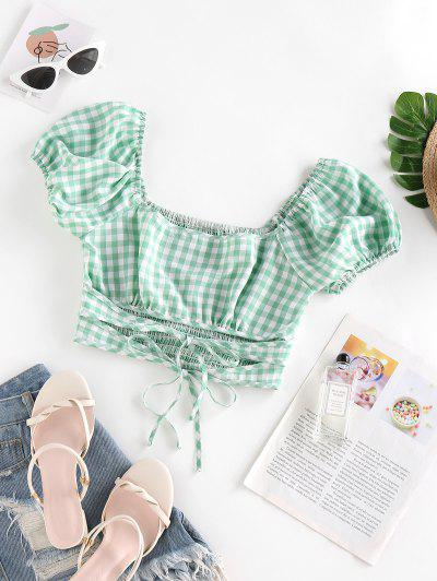 ZAFUL Gingham Tie Smocked Puff Sleeve Blouse - Light Green Xl
