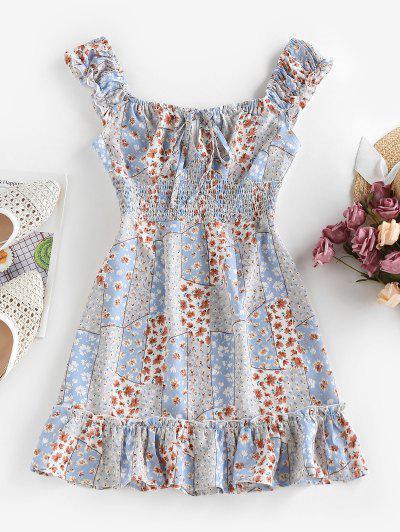 ZAFUL Bohemian Floral Print Smocked Mini Dress - Light Blue S
