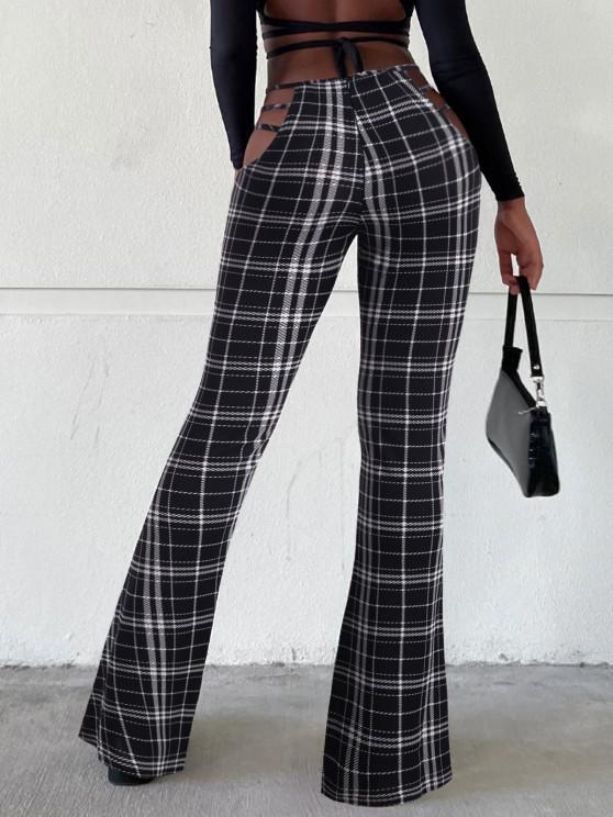 Ladder Cutout Waist Plaid Textured Bootcut Pants - متعدد S