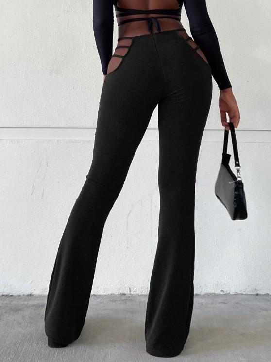 women Ladder Cutout Waist Textured Bootcut Pants - BLACK M