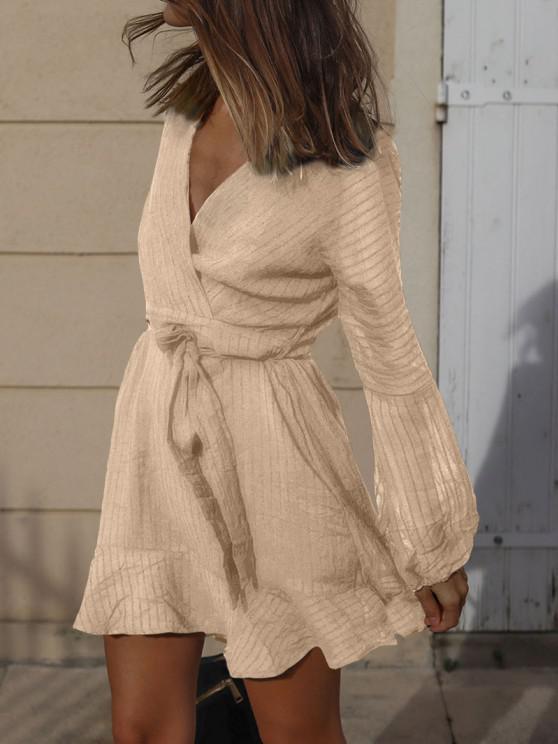 Ruffled Long Sleeve Belted Surplice Dress - القهوة الخفيفة L