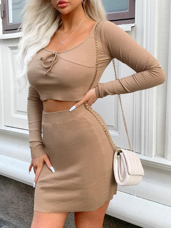 latest Ribbed Tie Long Sleeve Two Piece Skirt Set - LIGHT COFFEE L