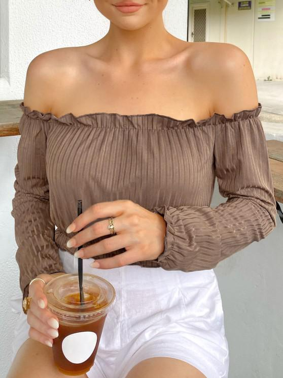outfits Cropped Ribbed Frilled Off Shoulder Top - LIGHT COFFEE M