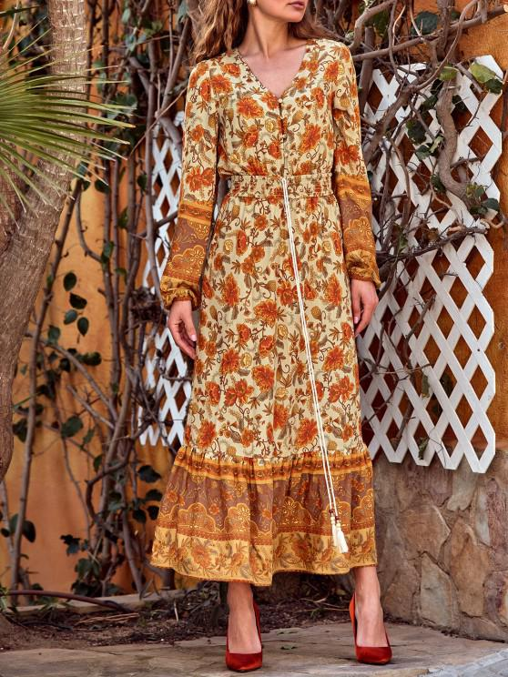 Button Loop Bohemian Printed Tassels Maxi Dress - اصفر غامق S