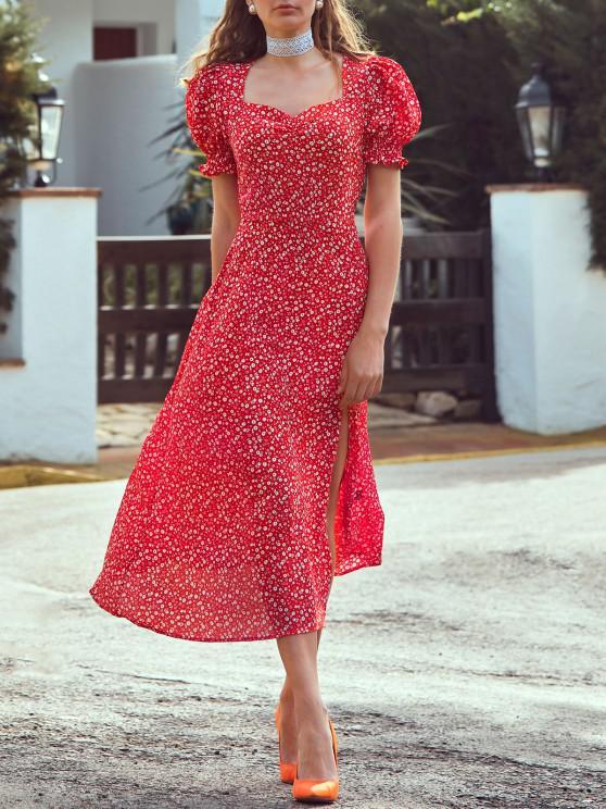 Vestido Ditsy mangas compridas com fenda - Vermelho M