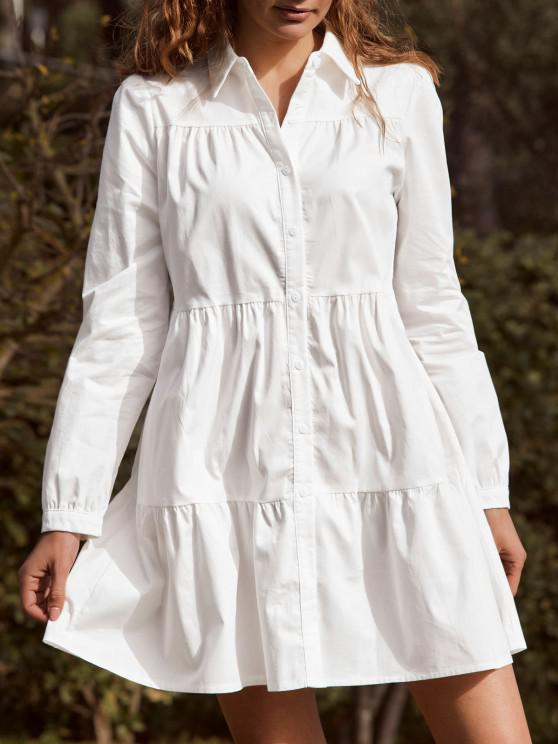 outfit ZAFUL Long Sleeve Casual Shirt Dress - WHITE S