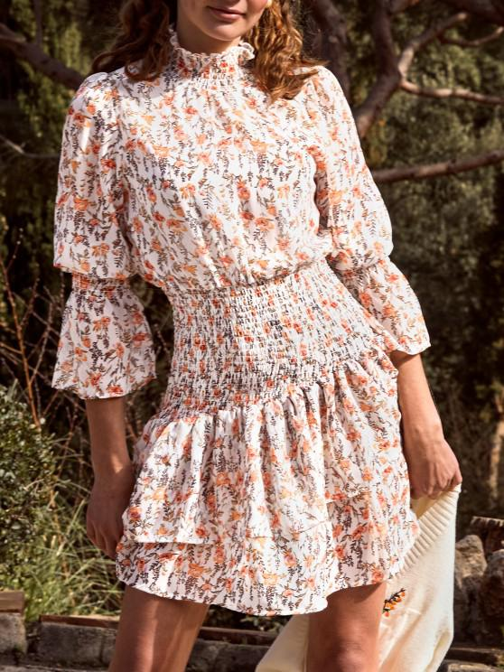 Floral Smocked Layered Hem Poet Sleeve Dress - أبيض L