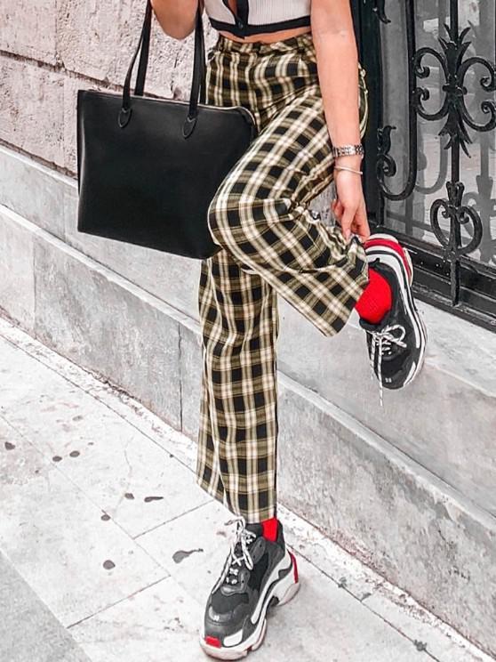 Pantalones Corte Recto a Cuadros Bolsillos - Amarillo claro L