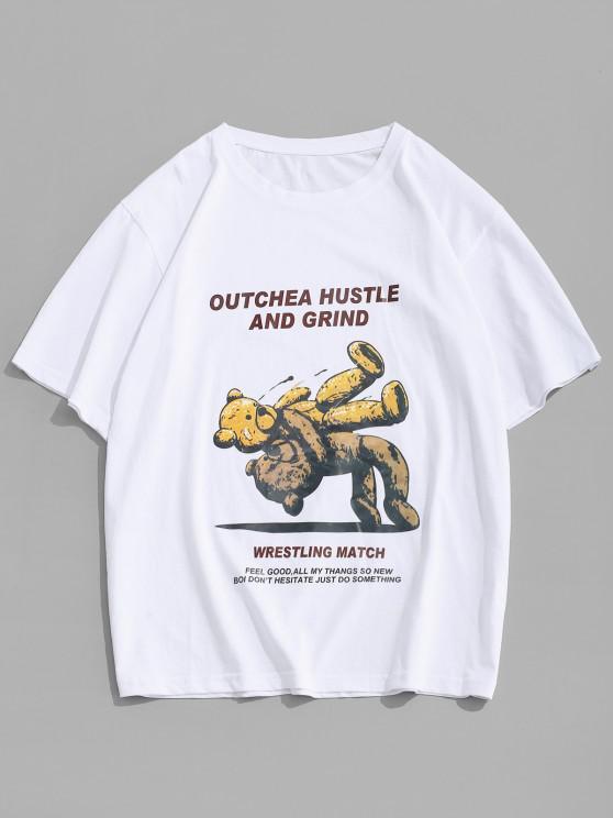 Cartoon Bear Letter Short Sleeve T-shirt - أبيض L