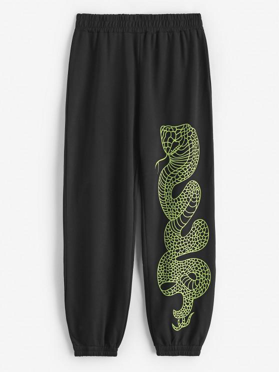 women Mid Rise Snake Print Jogger Sweatpants - BLACK S
