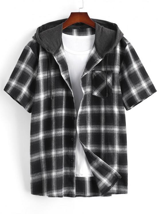 Plaid Print Short Sleeve Casual Hooded Shirt - أسود XXL