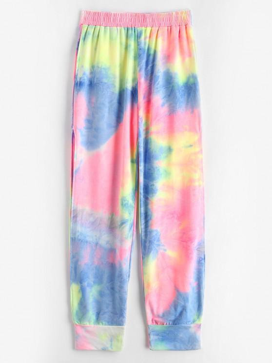 affordable Neon Tie Dye Split Side Scrunch Butt Sweatpants - MULTI L