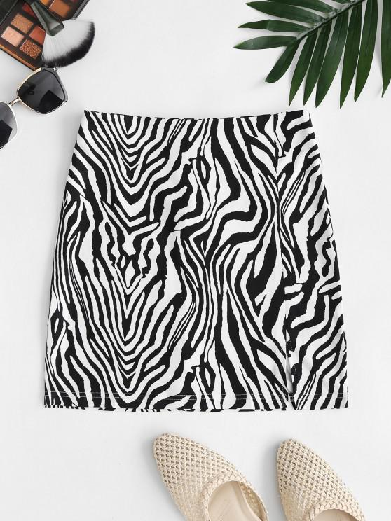 women Zebra Print Split Hem Mini Skirt - BLACK M