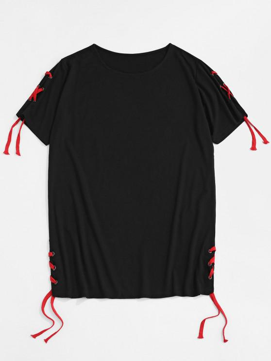 hot Solid Lace Up Round Hem Casual T-Shirt - BLACK XXL