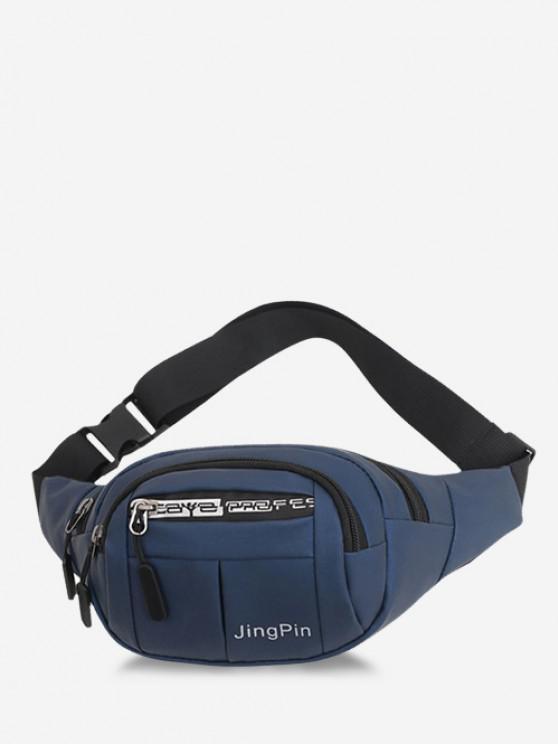 hot Multi Compartment Printed Casual Waist Bag - DEEP BLUE