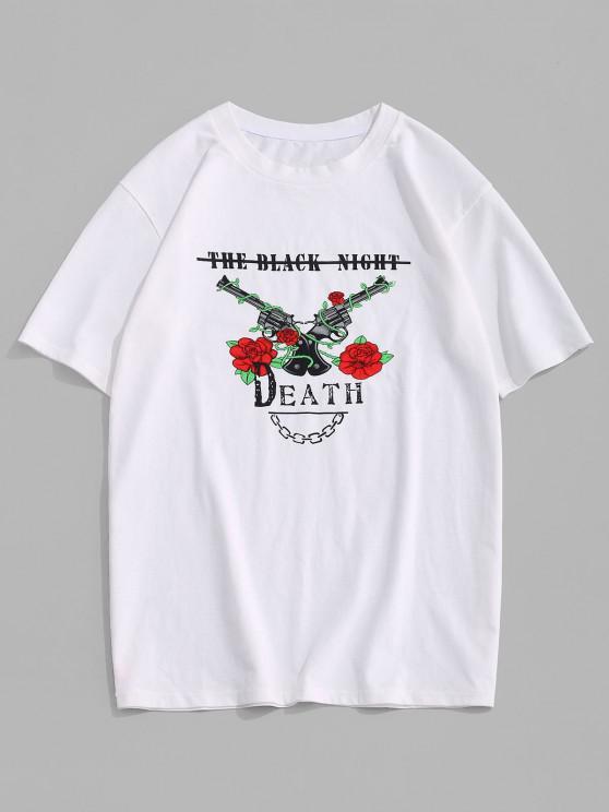ladies ZAFUL Rose Flowers Pistol Print Graphic T-shirt - WHITE L