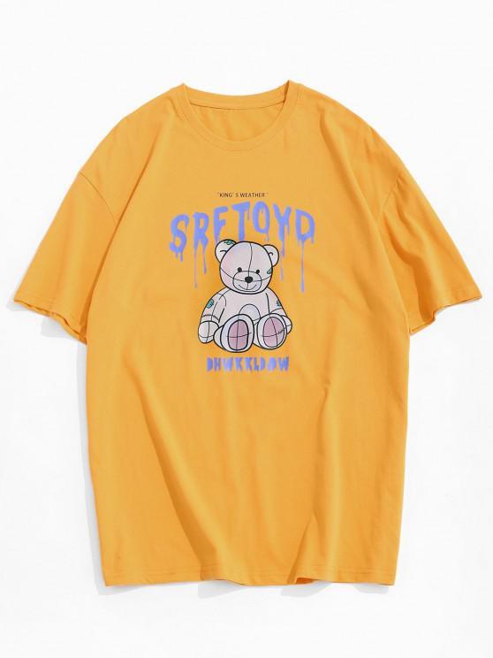 T-Shirt à Manches Courtes Motif Ours et Inscription - Jaune XL