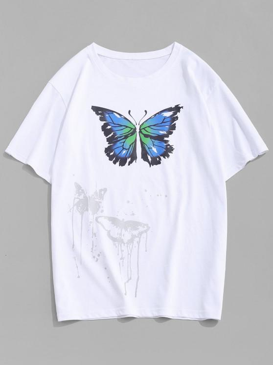 affordable Painting Splash Butterfly Short Sleeve Tee - WHITE M