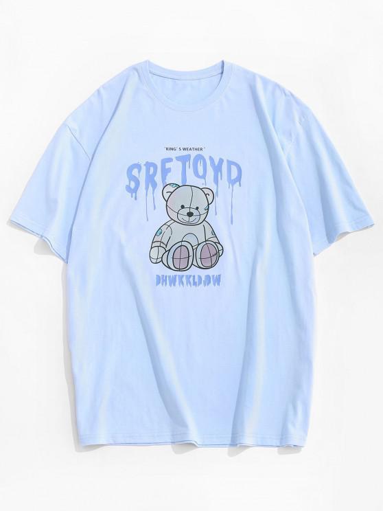 Drip Letter Bear Pattern Short Sleeve T-shirt - السماء الزرقاء L