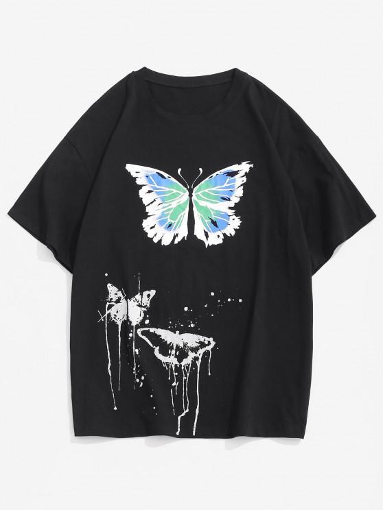 new Painting Splash Butterfly Short Sleeve Tee - BLACK XXL
