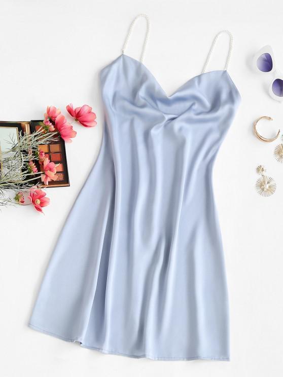 unique Faux Pearl Straps Cowl Neck Mini Dress - LIGHT BLUE M