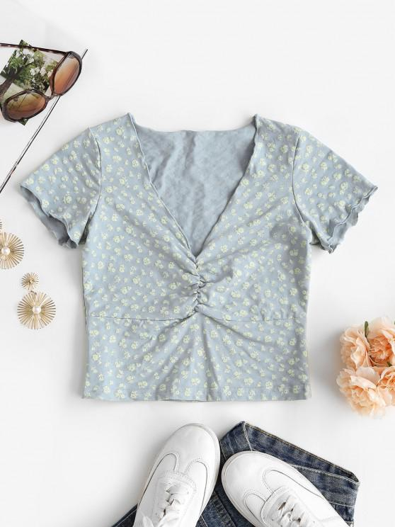 fashion Lettuce-trim Ditsy Print Ruched Baby Tee - LIGHT BLUE M