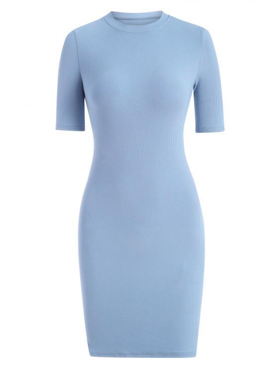 ladies Rib-knit Slinky Bodycon Tee Dress - LIGHT BLUE L