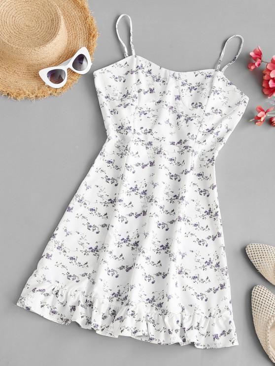 women's Tiny Floral Bustier Ruffled Hem Cami Dress - WHITE M