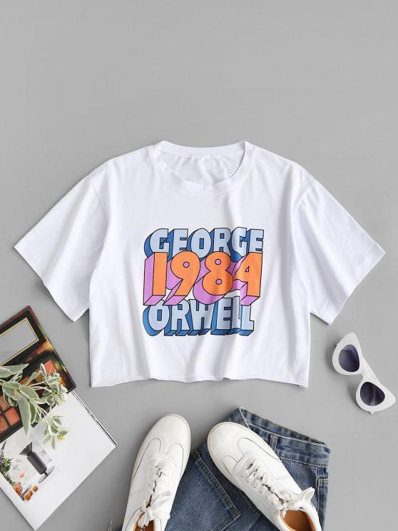 fancy Boxy Raw Hem George Orwell Graphic Tee - WHITE S