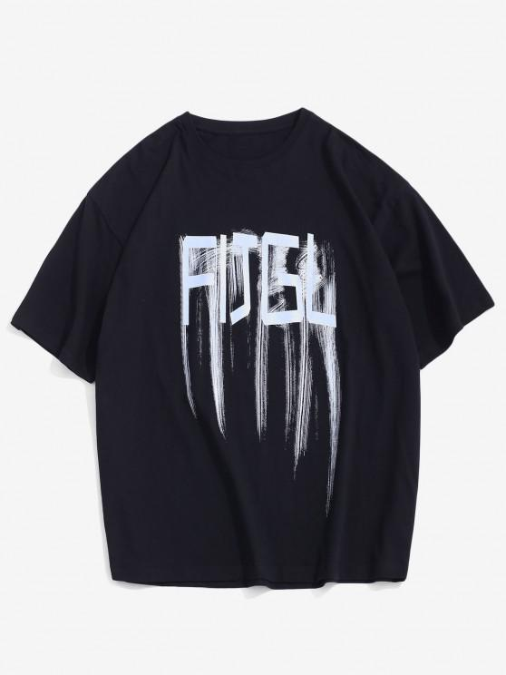 outfits Letter Short Sleeve Loose Tee - BLACK S