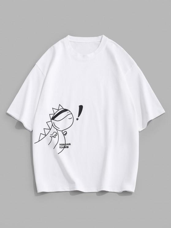 Cartoon Animal Letter Loose Short Sleeve T-shirt - أبيض M