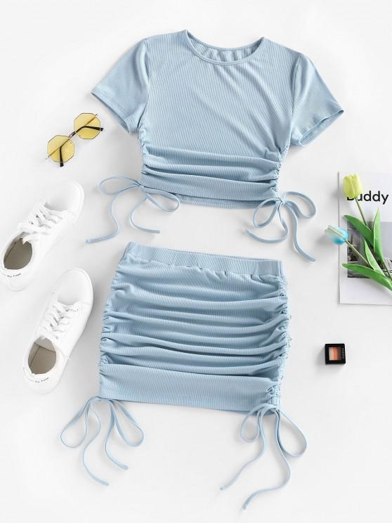 best ZAFUL Cinched Ribbed Side Two Piece Skirt Set - LIGHT BLUE S