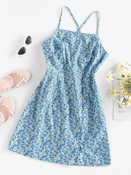 shop ZAFUL Ditsy Print Tied Crisscross Front Slit Dress - LIGHT BLUE M