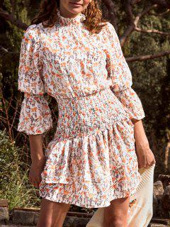 Floral Smocked Layered Hem Poet Sleeve Dress - White L