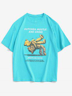 Cartoon Bear Letter Short Sleeve T-shirt - Celeste M