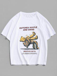Cartoon Bear Letter Short Sleeve T-shirt - White L