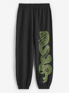 Mid Rise Snake Print Jogger Sweatpants - Black L