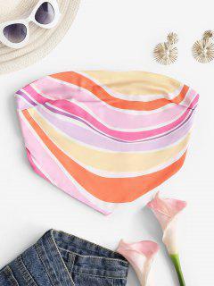 Strapless Colorful Striped Silky Bandana Top - Multi S