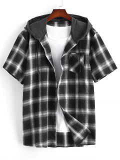 Plaid Print Short Sleeve Casual Hooded Shirt - Black M