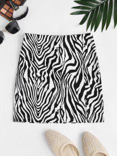 Zebra Print Split Hem Mini Skirt - Black M
