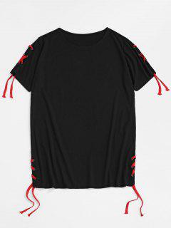Solid Lace Up Round Hem Casual T-Shirt - Black Xl