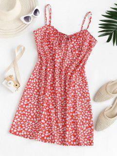 Ditsy Floral Tied Cami Summer Dress - Red S