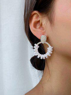 Faux Pearl Rhinstone-Embellished Circular Drop Earrings - Golden