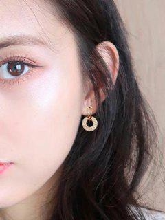 Rhinestone-Embellished Circle Silver Stud Earrings - Golden